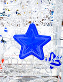 Close up blue star hanging with snowflake ,Holiday concept Stock Photo