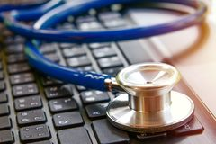 Close up blue stethoscope royalty free stock images