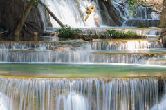 Close up blue stream waterfalls in deep forest Royalty Free Stock Photos