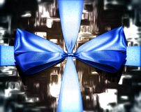 Close-up on a blue tied knot with depth of field Stock Photography