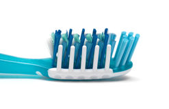 Close up of a blue toothbrush Stock Images
