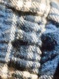 Close up of blue and white fabric texture pajamas Royalty Free Stock Photos