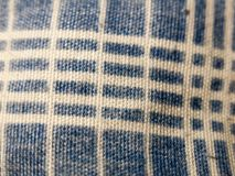 Close up of blue and white striped table cloth pattern Stock Images