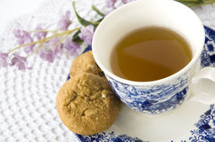 Close up blue and white tea set Royalty Free Stock Images