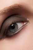 Close-up of blue woman eye with beautiful smoky make-up. Cosmetics & makeup. Close-up of blue woman eye with beautiful smoky make-up. Cosmetics & makeup Stock Photos