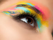 Close up of blue woman eye with fashion makeup Stock Photo