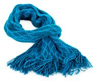 Blue woolen scarf Royalty Free Stock Image