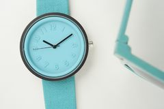 Close up of blue wristwatches. For background Stock Images