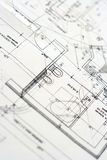 Close up of a blueprint Stock Photos