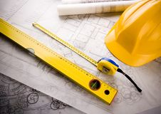 Close up of a blueprint Royalty Free Stock Images