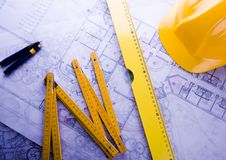 Close up of a blueprint Royalty Free Stock Image