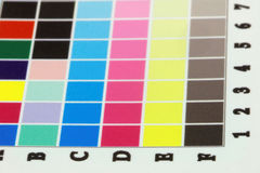 Close-up of blurry inkjet cmyk test print, side view Stock Image