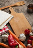 Close up board cooking wood more vegetable ingredient Stock Images