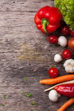 Close up board cooking wood more vegetable ingredient Royalty Free Stock Images