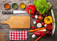 Close up board cooking wood more vegetable ingredient Royalty Free Stock Photo