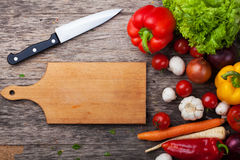 Close up board cooking wood more vegetable Royalty Free Stock Images