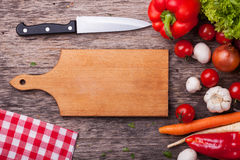 Close up board cooking wood more vegetable ingredient Royalty Free Stock Image