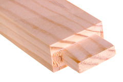 Close-up of a board with a woodworking tenon isolated Stock Image