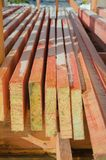 Board for construction, treated with fire and biological protect. Close-up, boards treated with fire-biological protection for construction Stock Images