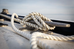 Close up of boat cleat and rope Royalty Free Stock Photography