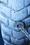 Close up boat fender with snow Royalty Free Stock Photography
