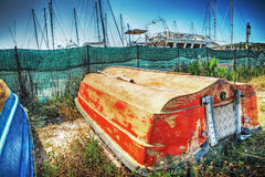 Close up of a boat overturned in hdr Royalty Free Stock Image