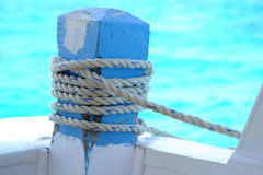 Close Up of Boat Rope Tied on ship Stock Photos