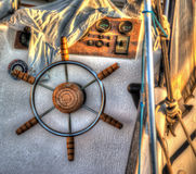 Close up of a boat steering wheel in hdr Royalty Free Stock Photos