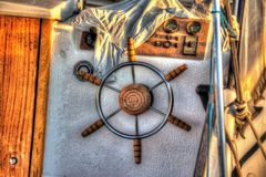 Close up of a boat steering wheel in hdr Royalty Free Stock Photography