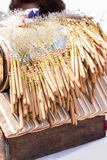 Close-up bobbin lace making. Shallow DOF. Royalty Free Stock Photos