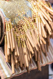 Close-up bobbin lace making. Shallow DOF. Stock Photography