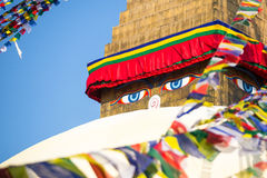 Close up: Bodhnath Stupa in Kathmandu with Buddha Eyes. Nepal. Stock Photography