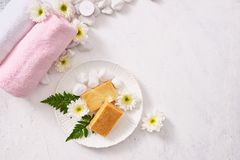 Close up of body care cosmetic products on stone table.  Royalty Free Stock Photos