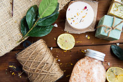 Close up of body care cosmetic products on wood Royalty Free Stock Image