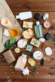 Close up of body care cosmetic products on wood Stock Photography