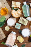 Close up of body care cosmetic products on wood Stock Photos