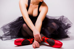 Close up of body of young blonde ballerina Stock Image