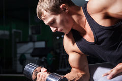 Close-up of bodybuilder doing concentration curls Royalty Free Stock Image