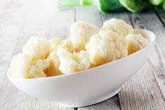 Close up Boiled Cauliflower on White Bowl Stock Images
