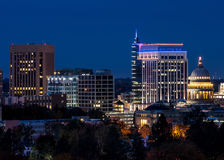 Close up of the Boise Idaho skyline. Boise skyline at night close up Royalty Free Stock Photo