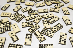 Close Up of Bone and Ivory Dominos Stock Photography