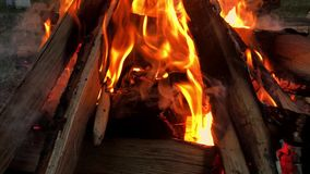 Close up bonfire flames of camping fire, Super slow motion burning firewood. Close up bonfire flames of camping fire, Super slow motion burning firewood stock footage