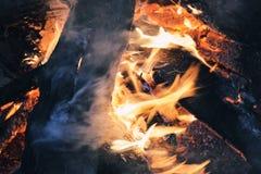 Close up of bonfire. Close up of night campfire Stock Images