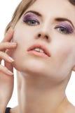 Retrato da beleza do close up da mulher caucasiano loura nova Fotografia de Stock