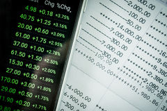 Close up book bank statement and stock market data Royalty Free Stock Photography