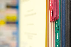 Close-up of book with colored tabs Royalty Free Stock Photos