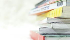 Close up book stacked background.  Stock Photos