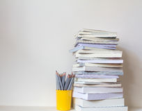 Close up book stacked  with concrete wall background Stock Image