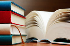 Close up of books and large book pages. Royalty Free Stock Photo