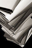 Close-up of books stack, B&W royalty free stock photo